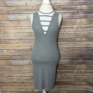AEO grey plunge caged front ribbed dress OS NWT